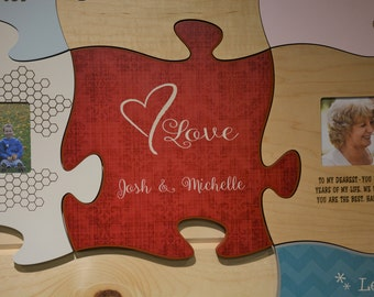 Red Puzzle Piece, Wall Hanging, Decoration, Wall Art, Home Decor, Puzzle, Love, Newly Weds, Personalized, Wall Art that Grows with You