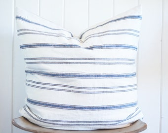 TURKISH Striped Blue White Tan Euro/Floor Pillow Cover Vintage Coastal Boho with 100% Belgian Linen Backing Exposed Gold Zipper
