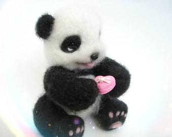 Needle felted animal Felt Panda Toy Needle felted panda bear Felted  Felt Organic toys Panda miniature  Panda Handmade  Felt Animals  OOAK