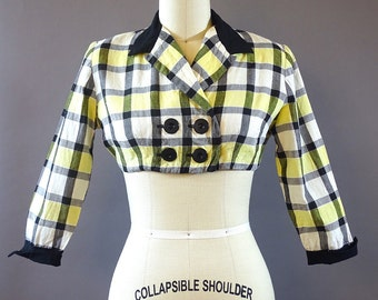 40s Check Mate Crop Jacket - 1940s Vintage Short Blazer - Black White Yellow Checkered 40s Jacket - Cropped Plaid Jacket - by Trudy Hall Jr