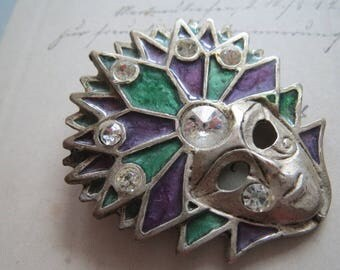 Vintage brooch, * mask Venezia * Venice Carnival Venetian mask enamelled brooch, mask with Rhinestone flower brooch