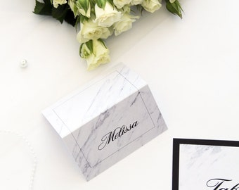 Chic Marble Place Cards and Table Numbers, Name Cards, Printable Files or Printed Cards, Marble Table Numbers
