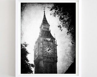 Big Ben Print London Clock Tower Print Vintage London Photo Printable England Travel Poster Black and White Travel Gift DIY Digital Download