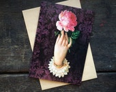 Gothic Pink Rose, I love you, Christmas Valentines card, Occult, Floral Love Spell, Witchcraft Art. Luxury greeting card.