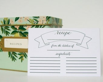 Recipe Card• Rustic Recipe Cards • Bridal Shower Recipe Cards • Mother's Day Gift