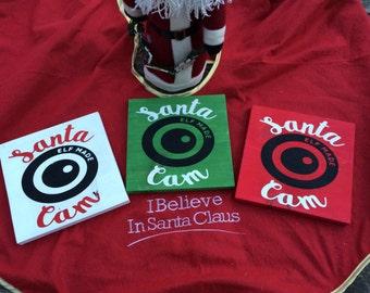 "Wood Santa Cam 8"" x 8"" Sign"