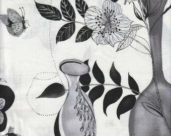 Still Life - Per Yd - P B Textiles  - Black and Gray on White
