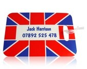Personalised Luggage Tags Kids Bag Tag School Bag Tag Luggage Tag Union Jack Luggage Tag Customised Luggage Tag