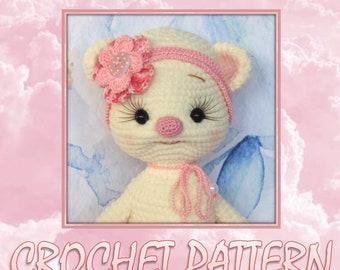 Rosy Cloud the teddy-bear - Amigurumi Crochet Pattern by Maria Amelina