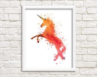 Unicorn colorful illustration, original wall decoration animal