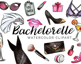 Watercolor Bachelorette Party Clipart Set - High Res, PNG, Printable and Cute! For girls night out, bridal showers and weddings