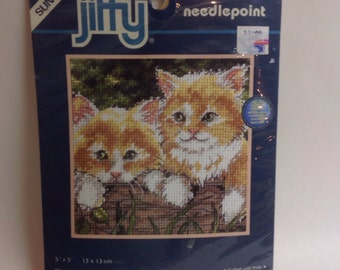 Juffy needlepoint kit with cats.
