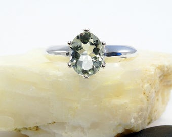 Green amethyst ring, green amethyst ring silver, prasiolite, genuine amethyst ring, prasiolite ring, ring size 3 4 5 6 7 8 9 10 11 12 13