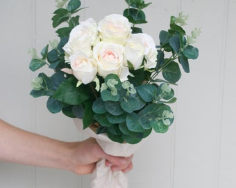 Faux Rose Bouquet - Artificial Bouquet - Silk Flower Bouquet - Silk Bouquet - Rose Bouquet - Everlasting Bouquet - Wedding Bouquet - Rose