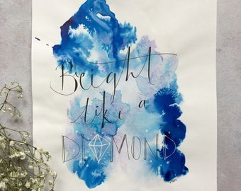 Bright like a diamond, song lyrics, pink and blue, motivational, home decor, handmade, affordable art - painting