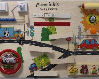"""Busy Board """"Cars"""", Activity Board, Sensory Board, Montessori educational Toy, Wooden Toy, Fine motor skills board for toddlers & babies"""
