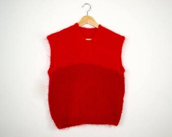 Poppy Red Mohair Sweater | Vintage Red Mohair Vest |  Vintage Mohair 80s Tank Top