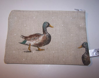 Duck print fabric, Mallard print fabric, waterfowl print fabric purse, phone case, wallet. Gift for her, birthday gift, teacher gift