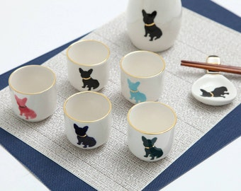 French bulldog Sake cup set - set of 5cups - handpainted