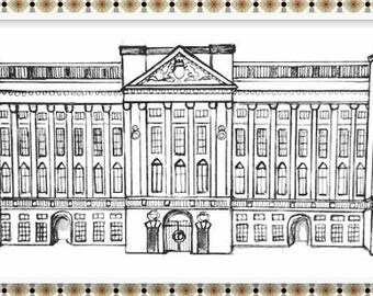 Buckingham Palace Unique, Hand-drawn, Print for Colouring and Framing :)