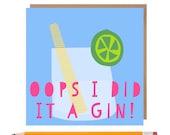 Funny Gin Birthday Card • Gin Card • Blank Gin Greetings Card • Sister • Best Friend • Gin • Alcohol • Gin Art
