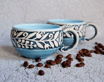 Gift for her Ceramic mug set Blue coffee mug Bride gift Gift women wife Birthday present Holiday gift ideas Small coffee cup Floral cups