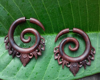 "Fake gauge earrings ""Sono Ornament Spiral"" hand carved earrings fake gauges fake earrings  tribal earrings spiral earrings spiral gauges"