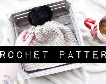 """CROCHET PATTERN//The """"Westdale"""" Beanie Crochet Pattern/winter hat/pom pom hat"""