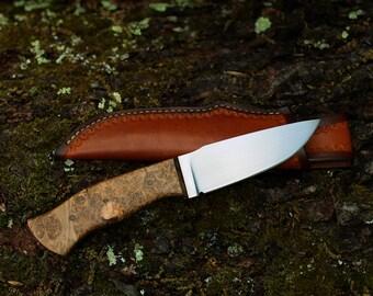 Custom Knife - Large Drop Point - Stabilized Maple Burl - Hunting Knife - Bushcraft Knife