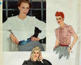 Uncut 1980s Vogue Vintage Sewing Pattern 7753, Size 14; Misses' Blouse