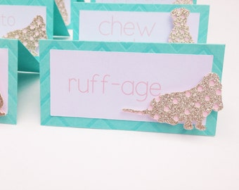 Puppy Party Food Labels- Puppy Party Food Tent Cards- Turquoise and Gold Place Cards
