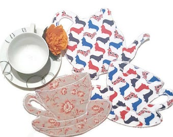 Reversible places mats,teapot  coasters, British flag quirky coasters, Place Mats,  handmade coasters, table mats, tea for two, quirky gifts