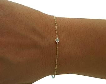 Diamond bracelet,solitaire diamond bracelet,bezel setting diamond bracelet,solitaire bracelet for women,diamond bezel bracelet,