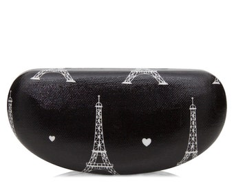Hard Sunglass case- Black Paris Eiffel Tower- Oilcloth Ladies Sunglasses case- Oil cloth Womens Glasses case - Eyeglass Holder - Paris Lover