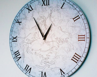 """Wall Clock - Angel Feather Collection, Shade of Blue 16"""""""