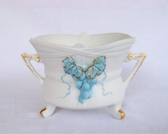 Footed Planter, White with Blue Grapes, Lefton China 2189