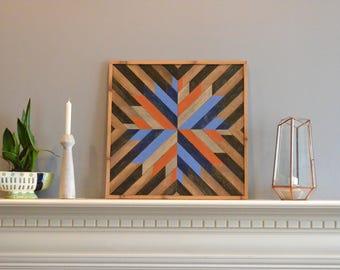Wood wall art, brown/blue/natural/orange/rust/gold/gray, burst, decor, panel, pine, cedar, lath 24in x 24in