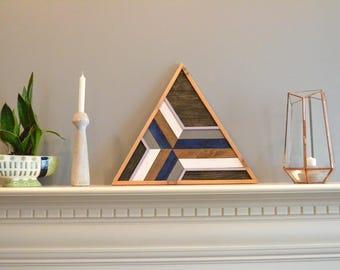 Triangle wood art, decor, lath, brown/blue/violet/purple/gray/white, pine, cedar frame, 24in sides