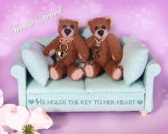 Needle Felted Mini Teddy Set of Two- Boy and Girl Teddy-Miniature Teddy Couple-Pair of Tiny Teddy Bears-Mini Teddy Bears-Doll House Bears