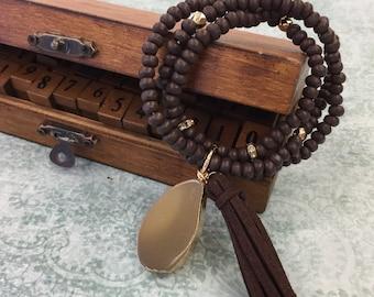 Wood Bead Triple Strand Bracelet with Tassel & Slice Agate Semi Precious Stone
