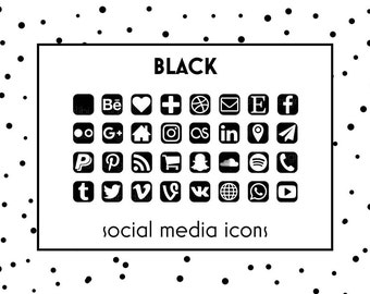 Social Media Icons / Black Icons / Glam Black Buttons |  Icons for website, blog, business cards and resume / Social Media Buttons