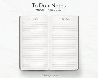 To Do List, Midori TN Regular, Notes Insert, Travelers Notebook, Midori Inserts, Traveler's Notebook Standard
