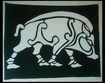fully lined Celtic boar