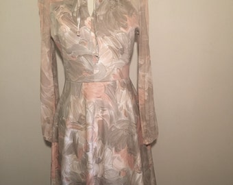 Vintage floral long sleeve flow dress
