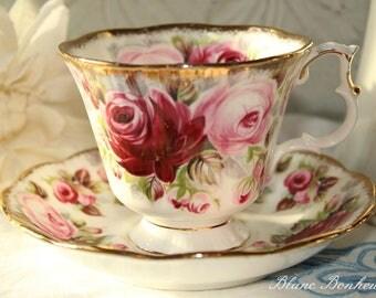Royal Albert, England: Summer Bounty Series Ruby tea cup and saucer