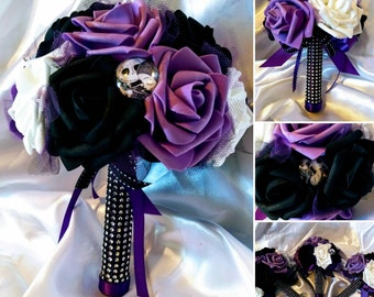 Disneys Tim Burtons Nightmare before Christmas inspired Bouquet with Jack & Sally Pin  ~ Multiple sizes and colors available