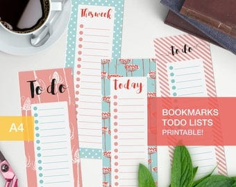 To do list planner bookmark - Printable - to do list pdf v4