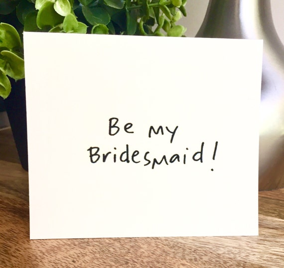 Set of 6 cards, Bridal party card, Will you be my bridesmaid card, Bridesmaid card, Hand lettered card, be my bridesmaid cards
