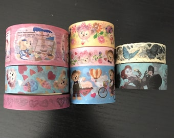 """18"""" SAMPLES of Disney alice through the walking glass and duffy bear washi tape (D35)"""