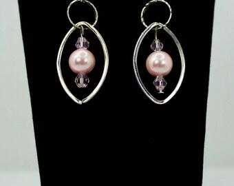 Silver, Pink Pearl & Crystal Dangle Earrings